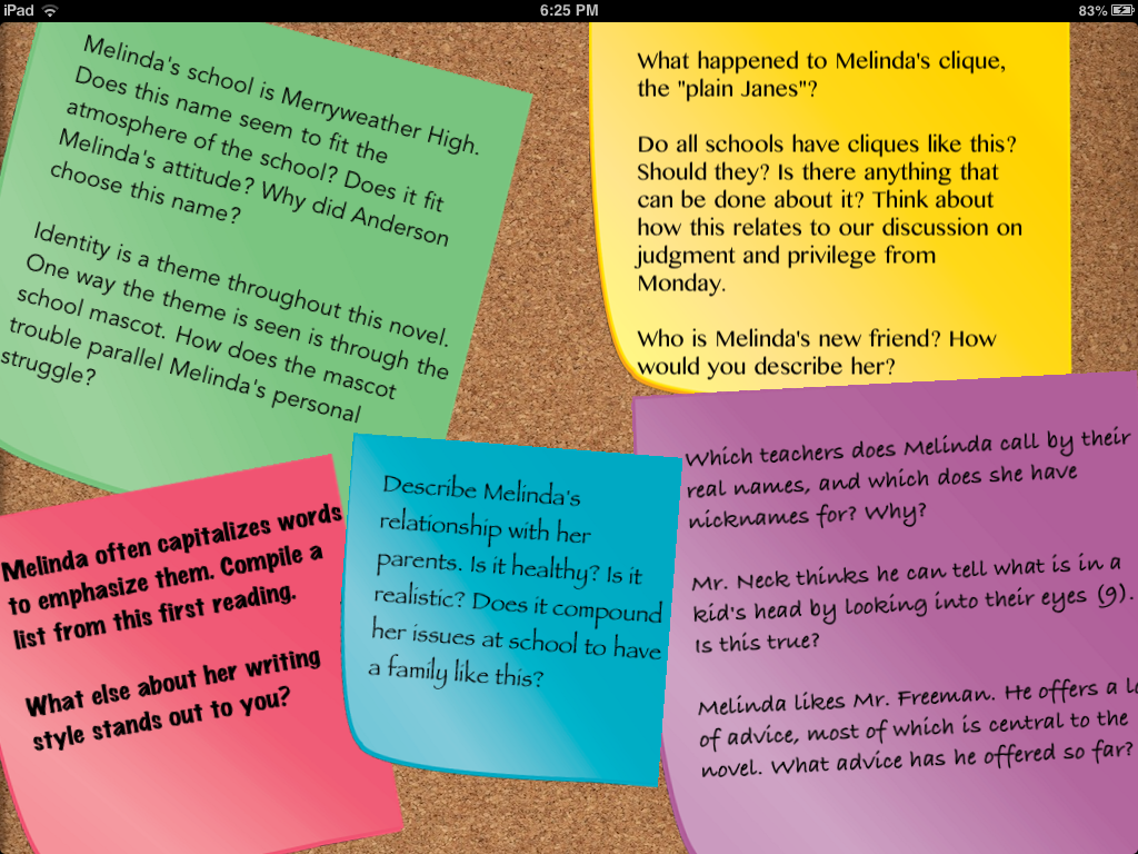 unit friendship loyalty betrayal and rites of passage we discussed these questions in small groups after reading the first section of speak each group answered one sticky note worth of questions